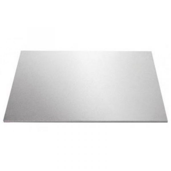 12 Inch x 18 Inch Oblong Silver Masonite Cake Board